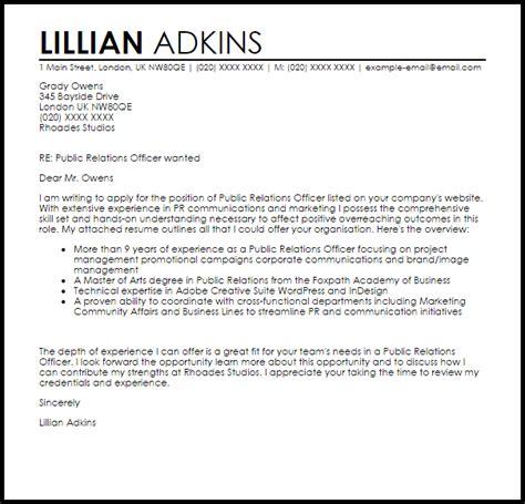 Public Relations Officer Cover Letter Sample   LiveCareer