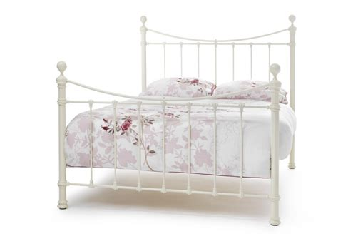 serene ethan ivory gloss ft small double metal bed frame