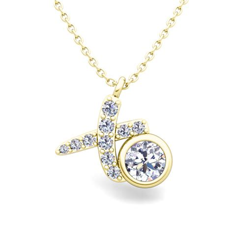 solitaire necklace in 14k gold xo pave pendant