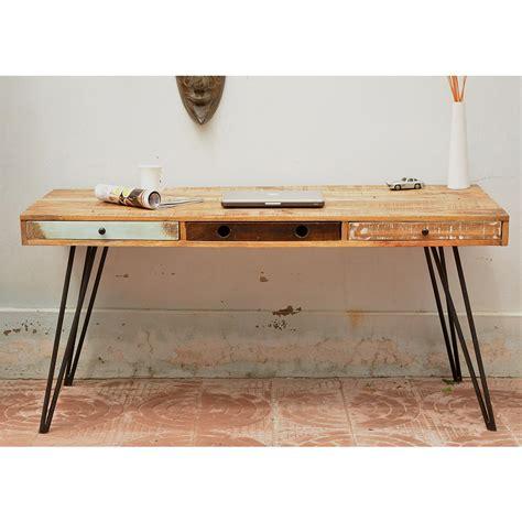 bureau 3 en 1 bureau design en bois jeux de couleurs et 3 tiroirs