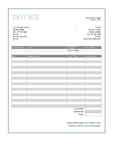 invoice template word document invoice template format template