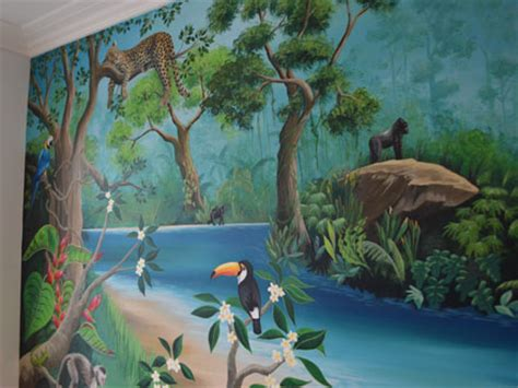 rainforest bedroom rainforest mural painted in a girl s bedroom