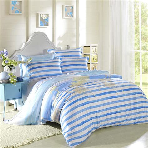 cool bedding vintage pattern blue striped geometry bedding set queen