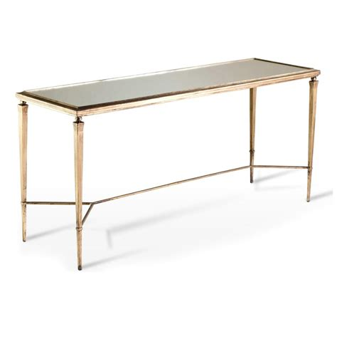 Alina Antique Gold Mirror Leaf Elegant Console Table Gold Sofa Table