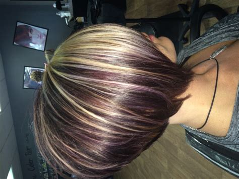 photos of bobbed hair with bold highlights red violet color with added highlights for dimensions and