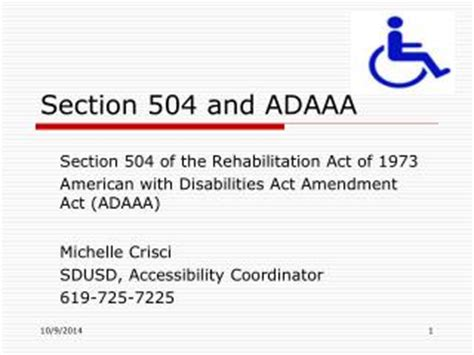 rehab act of 1973 section 504 ppt section 504 and adaaa powerpoint presentation id