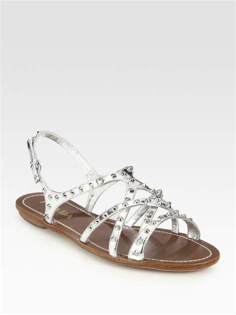 studded flat sandals prada metallic leather studded flat sandals in silver lyst