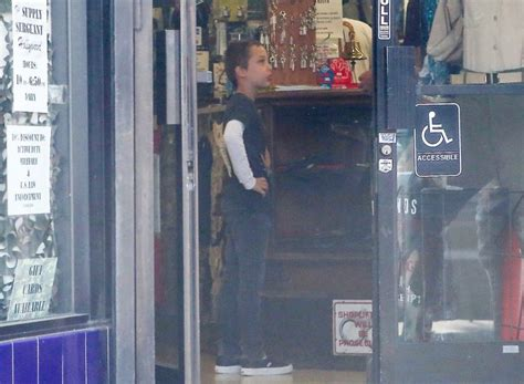 angelina jolie brings son knox to military supply store angelina jolie spotted in hollywood shopping spree with