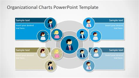 Circular Organizational Chart For Powerpoint Slidemodel Powerpoint Organizational Chart Templates