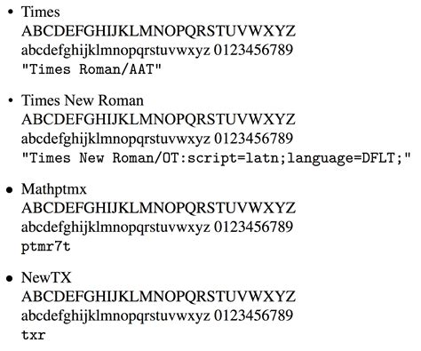font themes new roman fonts how similar output do mathptmx and times new roman