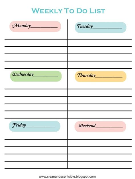 Making To Do Lists Fun Clean And Scentsible Weekend To Do List Template