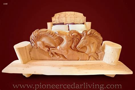 wood carving bed carved wood bed pioneer cedar living