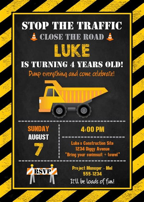 construction themed birthday card template best 25 construction invitations ideas on