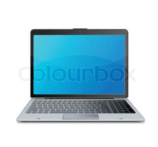 vector laptop with blue screen cloud computing connection