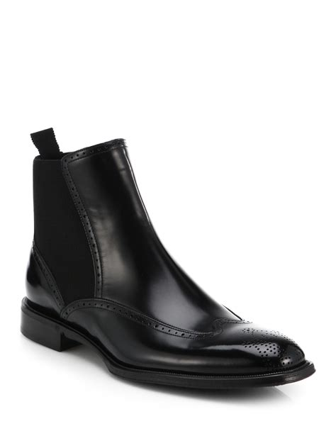 dolce and gabbana boots mens lyst dolce gabbana chelsea wingtip leather boots in