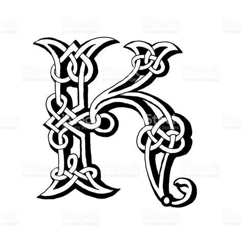 drawing vector graphics hand lettering hand drawn celtic alphabet letter k vector art royalty