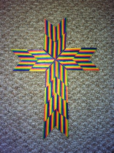 cross crafts for match stick cross craft rainbow style you can also