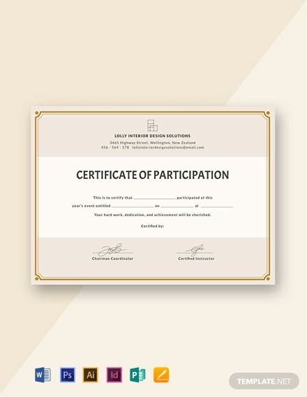 blank participation certificate template word psd