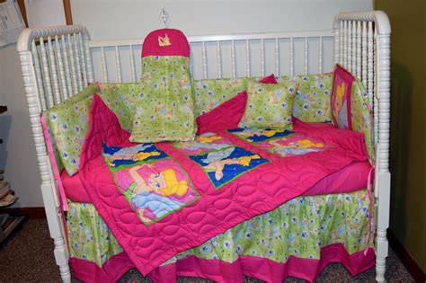 Crib Bedding Set Made W Hot Pink Tinkerbell Faces Fabric Tinkerbell Crib Bedding Sets
