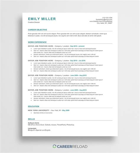 simple resume template word 20 free example of format dietician