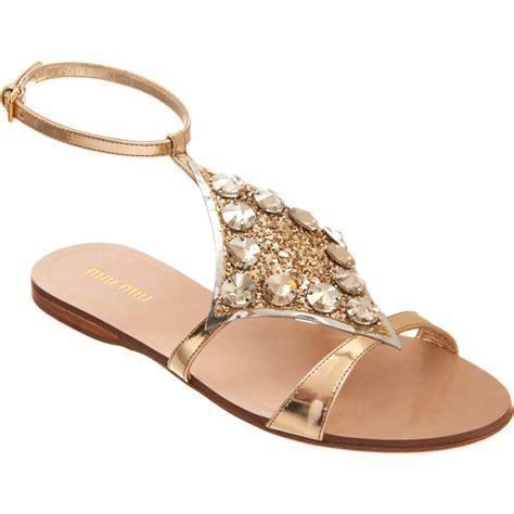 embellished flat sandals miu miu embellished slingback sandal in gold lyst