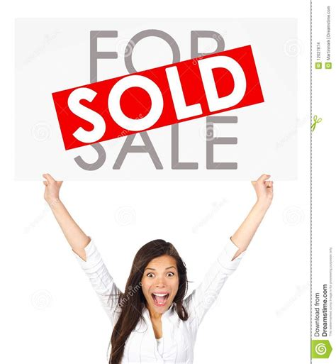 sold one womans true real estate woman holding sold sign stock images image 12027874