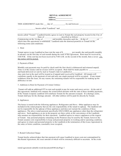 Rental Agreement Editable Word Document Lease Agreement Template Word Doc