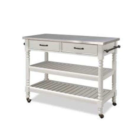 Home Depot Kitchen Carts by Home Styles White Kitchen Cart With Stainless Top