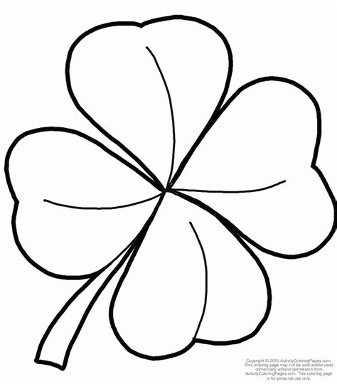 Printable 4 Leaf Clover Coloring Home Four Leaf Clover Color Page
