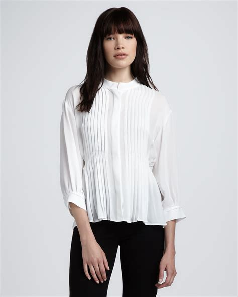 Gap White Pleated Blouse theory pleated silk blouse in white lyst