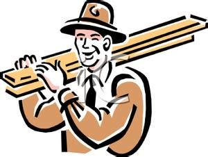 A Cartoon Of A Man Carrying Lumber Royalty Free Clipart