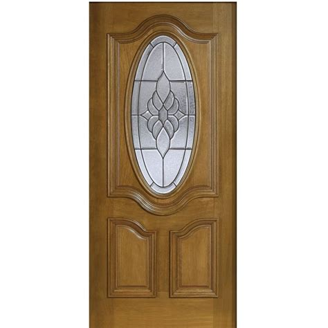 Oval Glass Doors Door 36 In X 80 In Mahogany Type 3 4 Oval Glass Prefinished Walnut Beveled Patina Solid