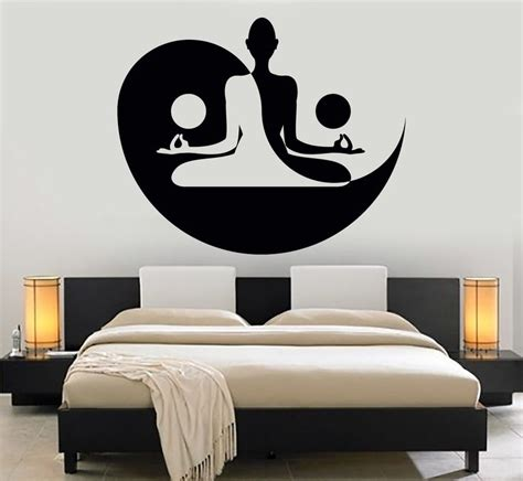 meditation home decor vinyl wall decal yin yang yoga zen meditation bedroom