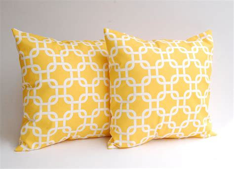 yellow decorative bed pillows yellow throw pillows set of two 18 x 18 inches by