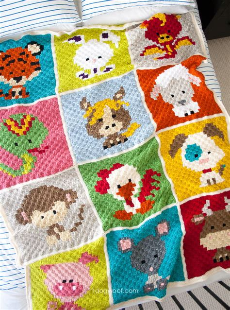 Crochet Patchwork - patchwork zoodiacs crochet afghan