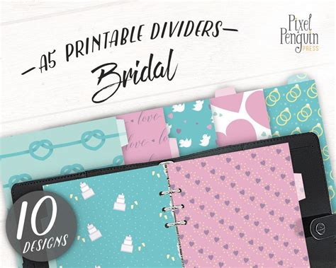 printable wedding planner journal printable pink teal and purple bridal themed dividers for