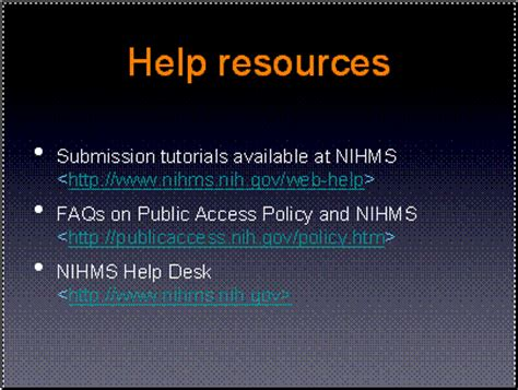 manuscript submissions in support of the nih access