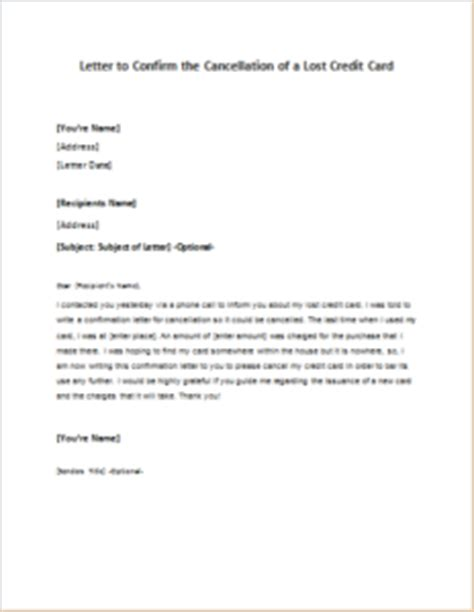 Cancellation Letter Of Credit Card Letter To Confirm The Cancellation Of A Lost Credit Card Writeletter2