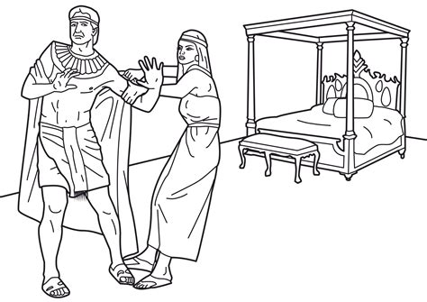 coloring page of joseph and potiphar coloring page joseph and potiphar s wife coloring pages