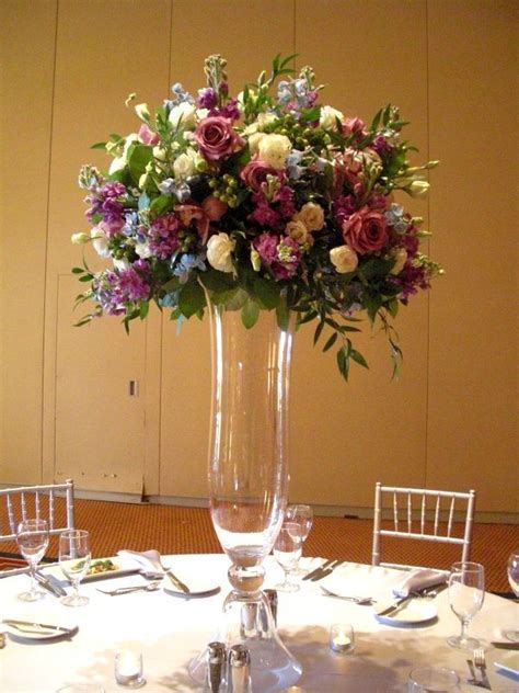 Purple Flower Arrangements Centerpieces     set up