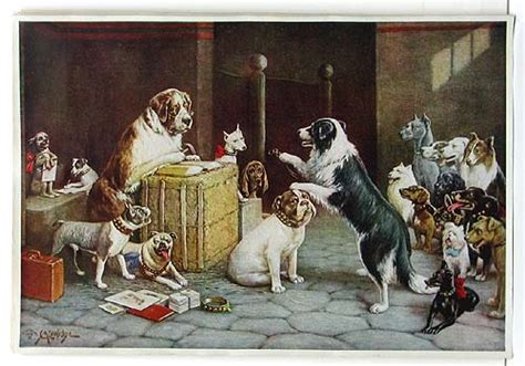 M C Original original antique 1930s quot dogs quot print by c m