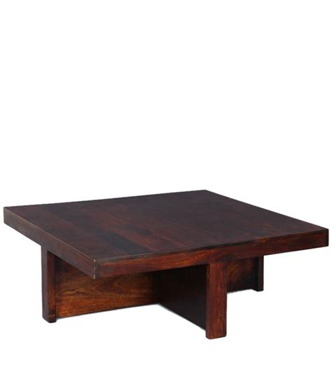 wooden square coffee table set in walnut finish by house