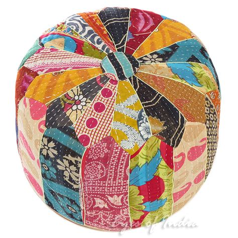 colorful pouf ottoman 16 x 10 quot round colorful kantha ottoman pouf pouffe cover