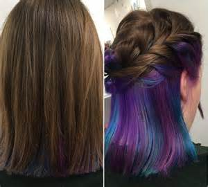 hairstyle with color underneath underlights the secret new hairstyle everyone s talking