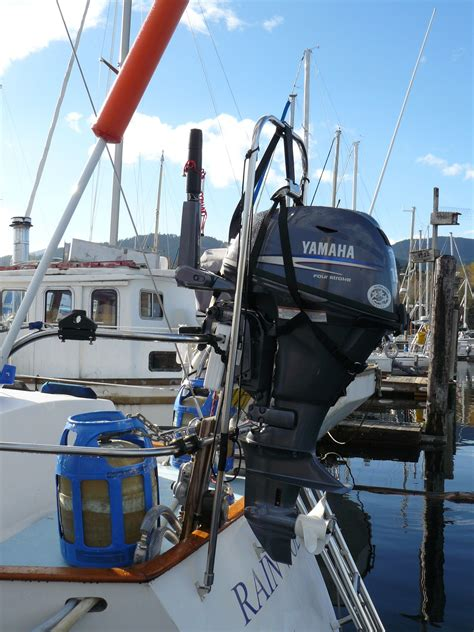 boat outboard motor lift swing lift outboard motor hoist on fraser 41 yacht