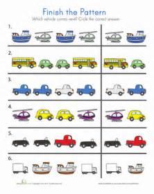 transportation patterns worksheet education com