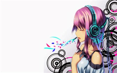 Anime girl with headphones drawing easy
