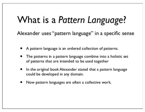 general pattern of language development pattern languages an approach to holistic knowledge