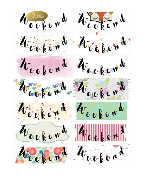 printable weekend stickers weekend stickers printables