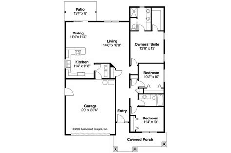 Cottage House Plans Preston 30 675 Associated Designs | ranch style house plans without garage awesome cottage